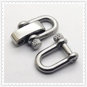 Verstelbare RVS Harpsluiting (adjustable D-shackle) 8mm glanzend zilver knurled pin