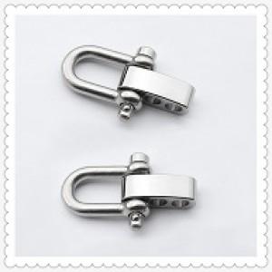 Verstelbare RVS Harpsluiting (adjustable D-shackle) 8mm glanzend zilver clevis pin