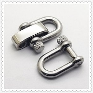 Verstelbare RVS Harpsluiting (adjustable D-shackle) 8mm glanzend zilver knurled pin